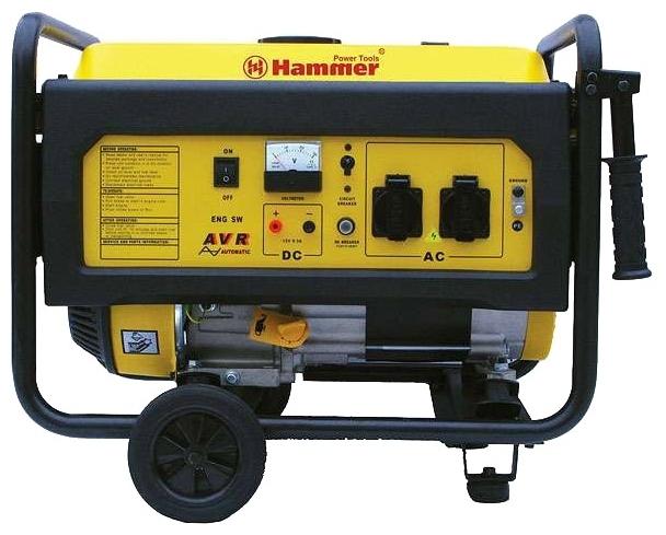 Бензоэлектростанция HAMMER GNR6000 А  ЭЛЕКТРОСТАРТ 6.0кВА 220В 50Гц бак 25л непр.8ч