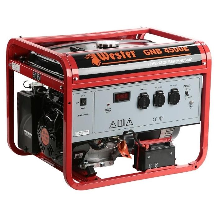 Бензоэлектростанция WESTER GNB4500Е  ЭЛЕКТРОСТАРТ 4,5КВт 220В 50Гц бак 25л непр.8ч