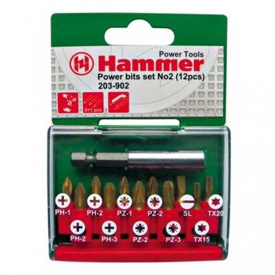 Набор бит HAMMER 203-902 PB set No2 (12pcs) Ph/Pz/Sl/Tx  12шт.