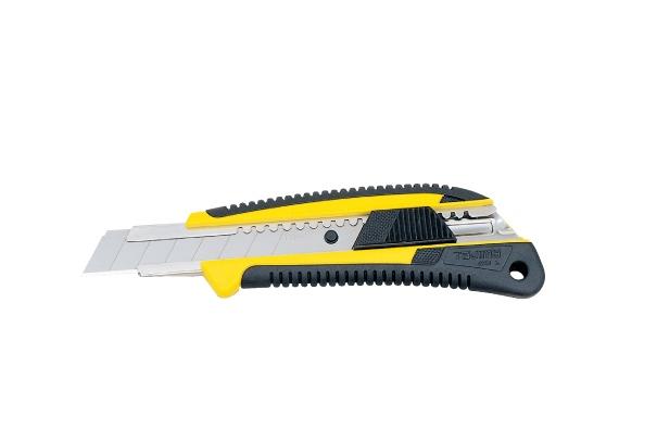 Нож KRAFTOOL с сегментным лезвием 2-х комп. усилен,автофиксация,кассета с 6 лезвиями,допфиксатор,18