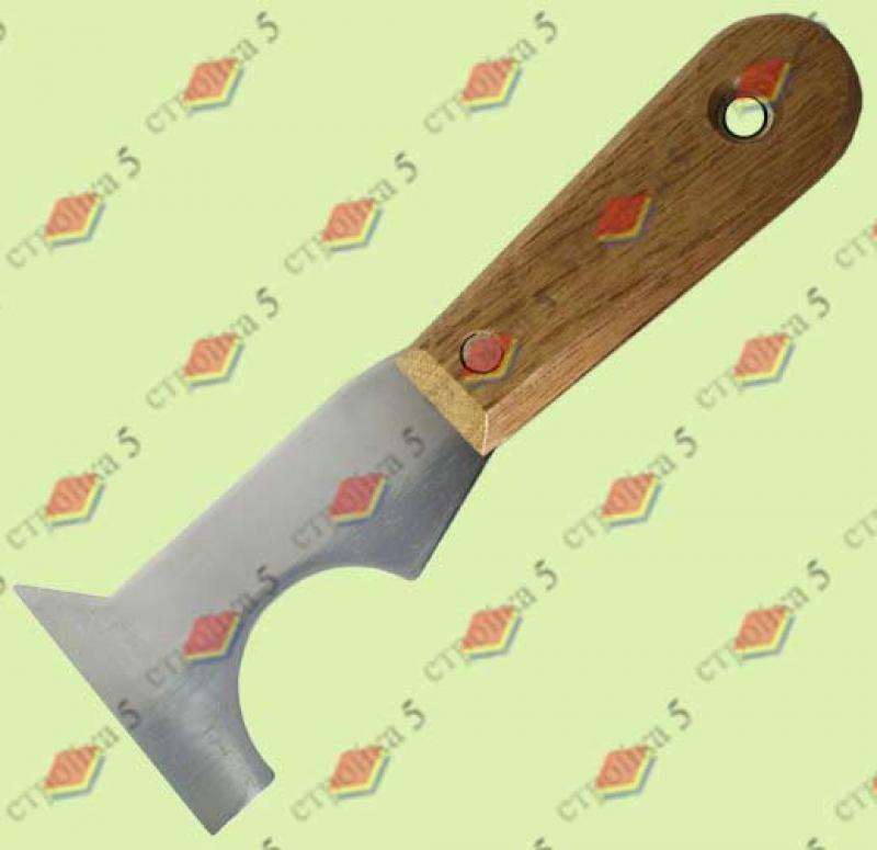 Шпатель-скребок стальной с дерев.ручка 63мм мноофункц