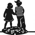Флюгер большой Мальчик и девочка