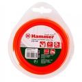 Леска триммерная HAMMER 216-105 TL ROUND 2.0мм*15м  круглая, цвет - красный (10)