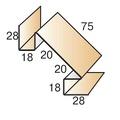 Планка угла внутреннего сложного 75х75х3000